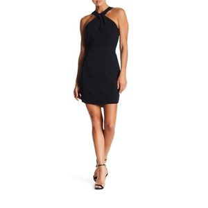Adelyn Rae Halter Sheath Black Little Dress Small